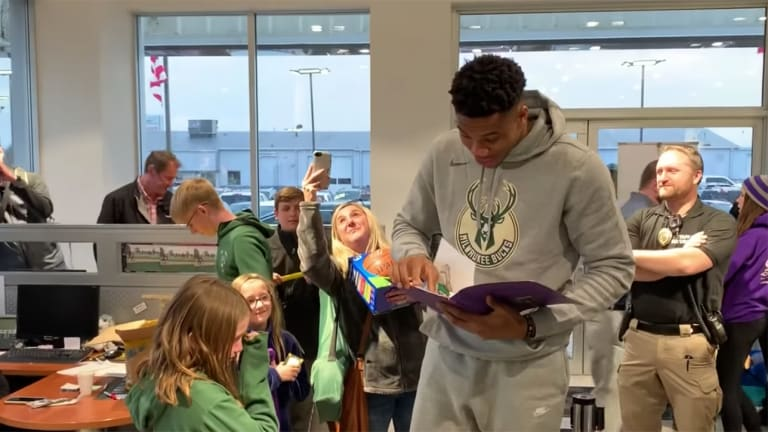 Watch: Young Fan Cries After Giannis Antetokounmpo Says He Loves Her Artwork