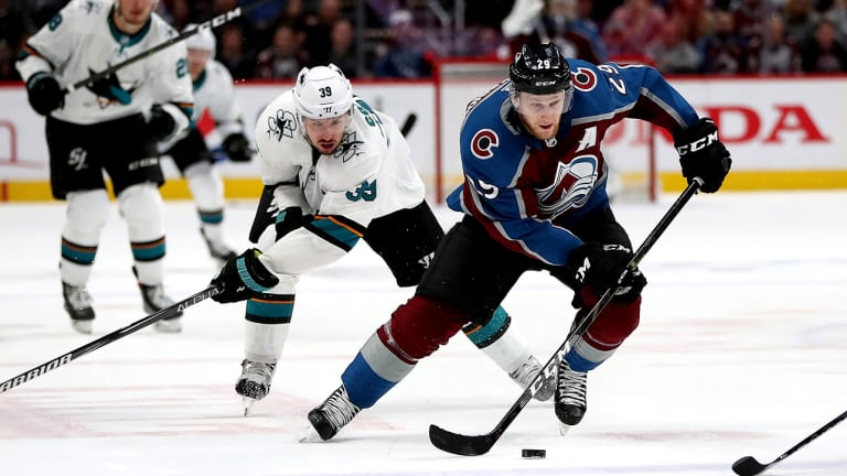 MacKinnon, Avs Beat Sharks in Game 4 to Even Series