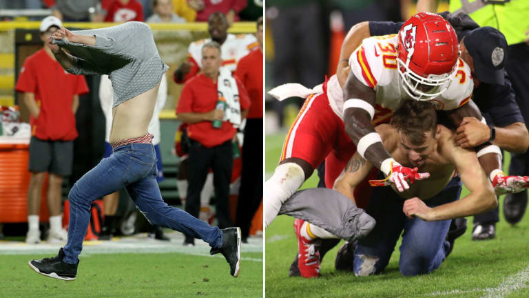 Friday's Hot Clicks: Shirtless Streaker Tackled by Chiefs Safety After Evading Security