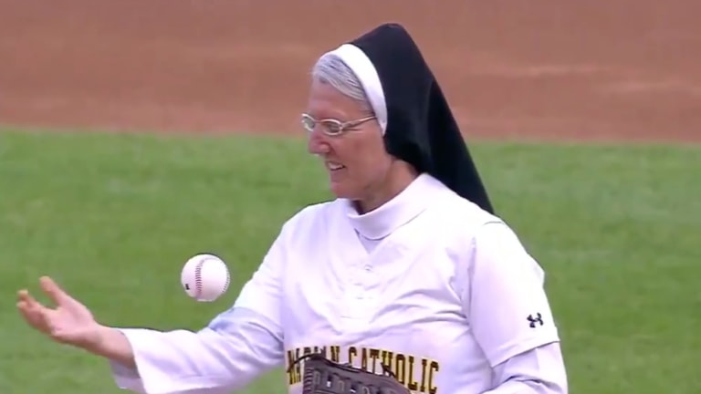 Watch: Nun Shows Off Cool Ball Trick Before Throwing Impressive First Pitch