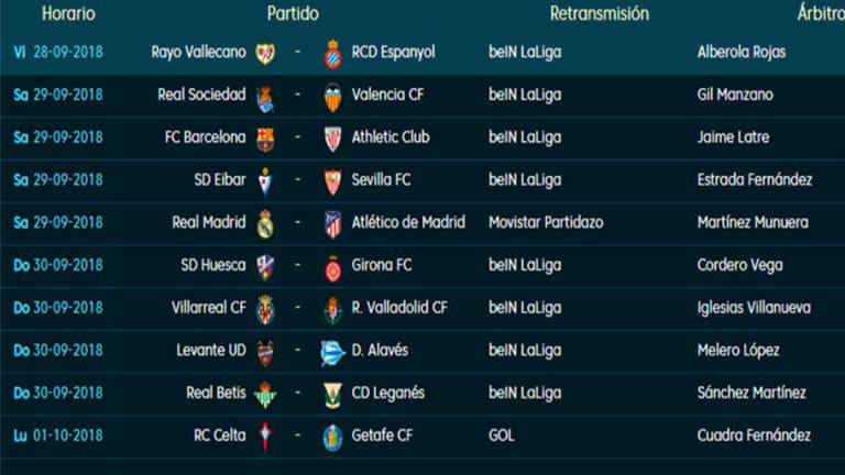 Todos los partidos, horarios y TV de la 7ª jornada de LaLiga Santander