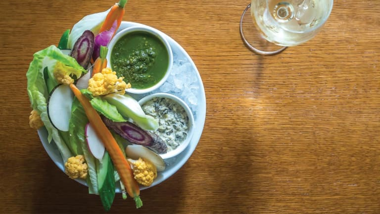 Crudités with Spinach Artichoke and Basil Pesto Dips