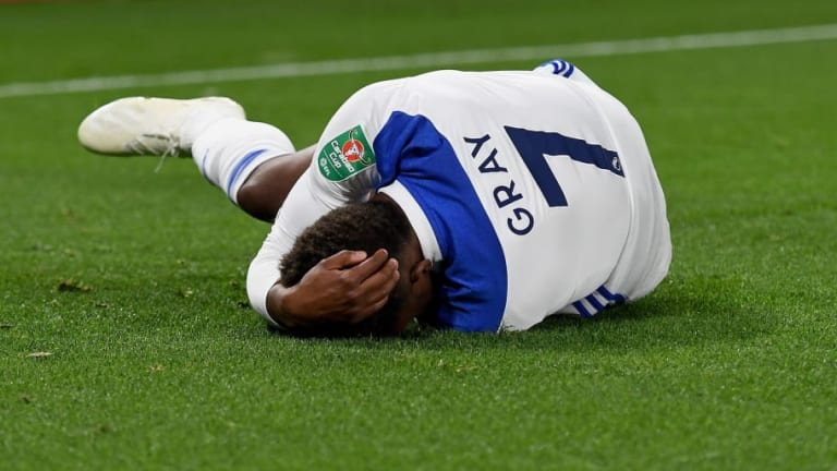 Leicester City Star Demarai Gray to Undergo Scan After Leaving Carabao Cup Win on Crutches