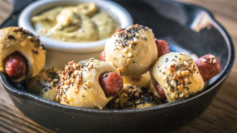 Everything Spice Pigs in a Blanket with Rye Mustard