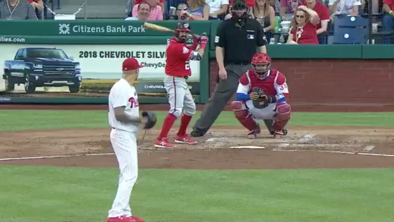 Watch: Phillies' Vince Velasquez Drilled in Right Arm, Makes Play With Left-Handed Throw
