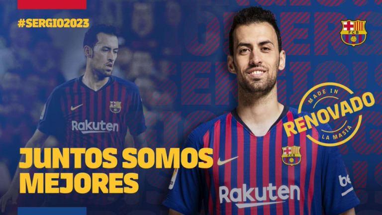 El FC Barcelona anuncia la renovación de Sergio Busquets hasta 2023