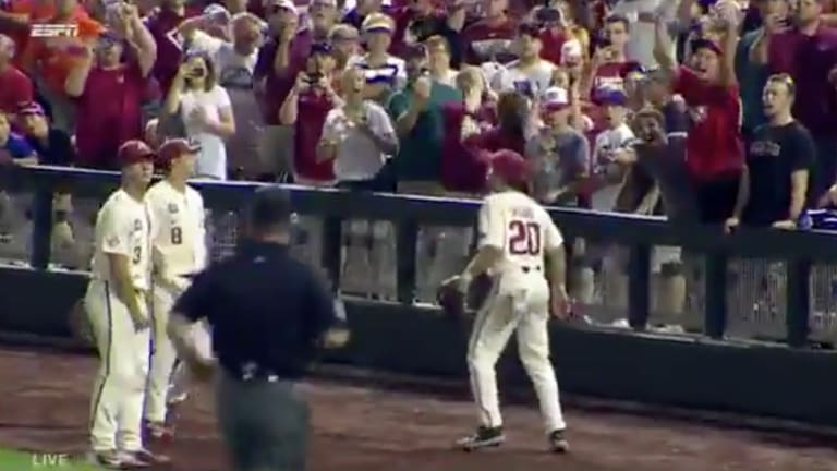 Watch: Arkansas Loses College World Series Clincher With Foul Ball Gaffe