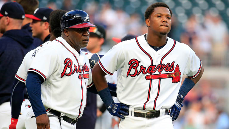 WATCH: Ronald Acuna Jr. Drilled by Jose Urena's First Pitch, Exits In 2nd Inning