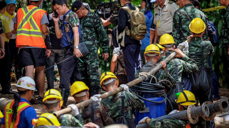 Thai Youth Soccer Team Fights Water, Oxygen Levels in Cave as Diver Dies in Rescue Effort
