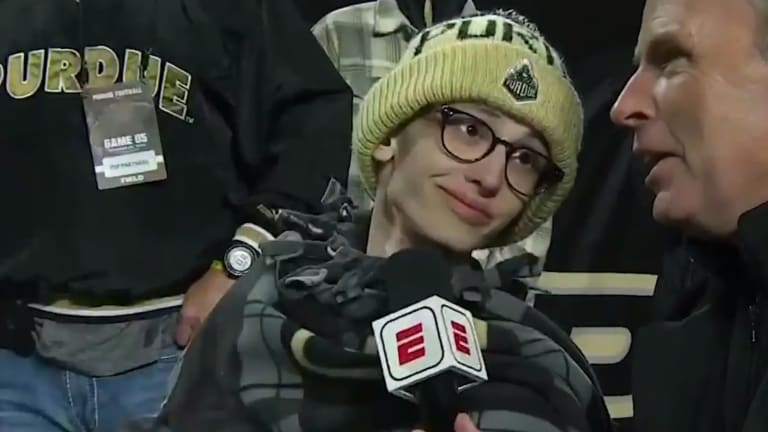 Purdue Superfan Tyler Trent Celebrates With Team After Predicting Win Over Ohio State