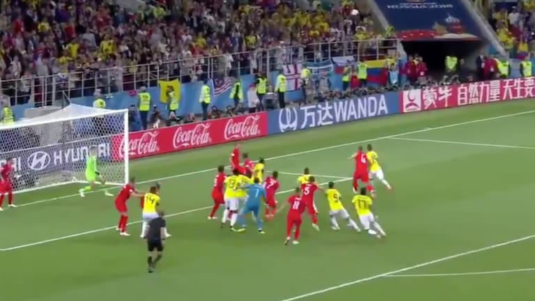 WATCH: Yerry Mina Sends Colombia-England Into Extra Time With 93rd-Minute Header