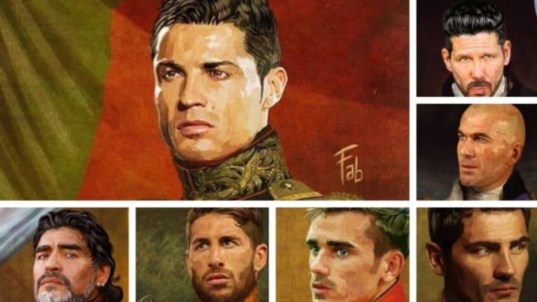Los cracks del fútbol pintados como si fuesen reyes del siglo XIX