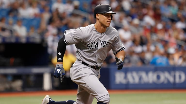 Watch: Aaron Judge Plays Catch With Young Fan Sitting in Outfield