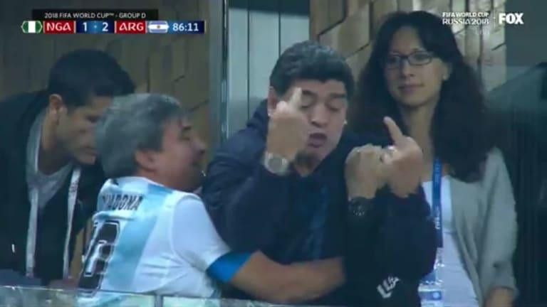 Watch: Diego Maradona Celebrates Argentina's Win Over Nigeria By Flipping Double Birds
