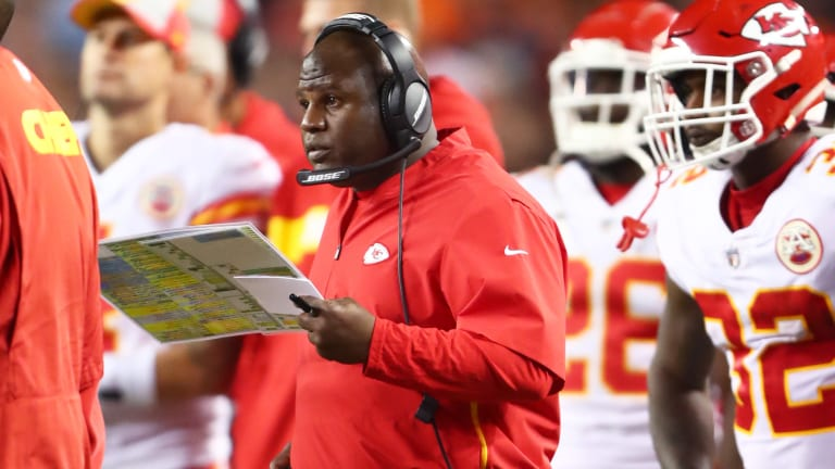 Chiefs' Eric Bieniemy Interviewing for Giants, Panthers Head Coaching Jobs