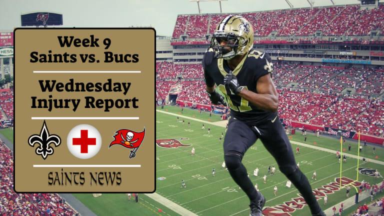 Week 9: Saints Wednesday Injury Report