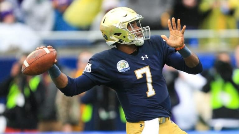 Coach Brian Kelly names QB Brandon Wimbush to start for Notre Dame