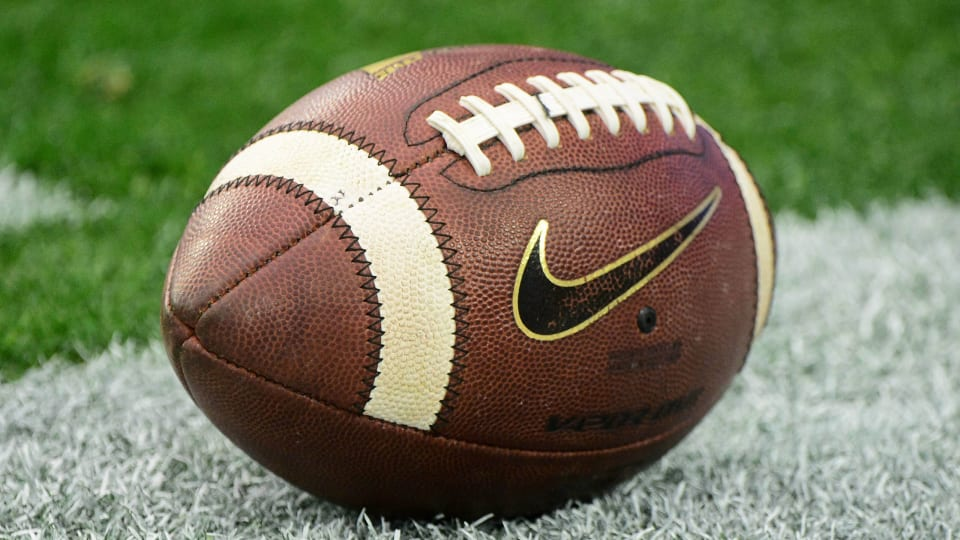 A generic view of a football before an NCAA game