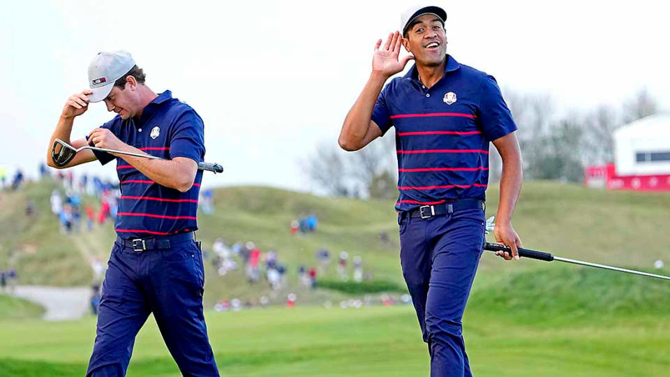 Tony Finau and Harris English rolled Rory McIlroy and Shane Lowry 4 and 3 Friday afternoon.