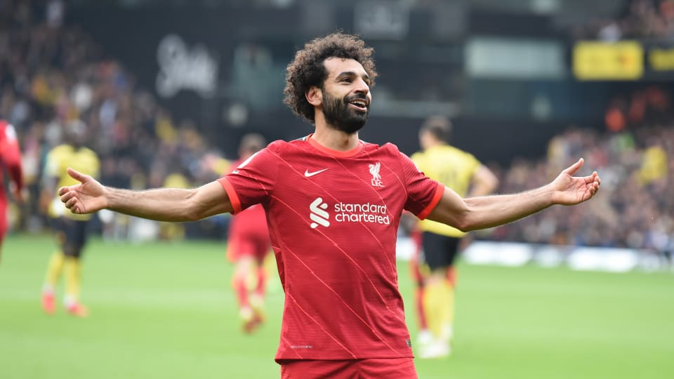 Liverpool forward Mohamed Salah celebrates a goal.