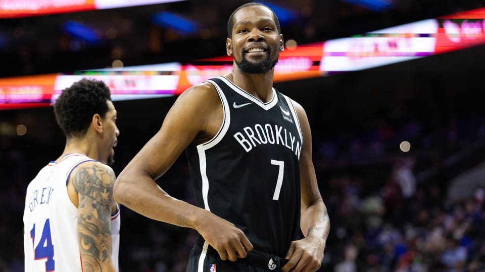 Brooklyn Nets forward Kevin Durant (7) during the third quarter against the Philadelphia 76ers.