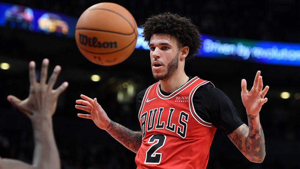 Chicago Bulls guard Lonzo Ball reacts after scoring a basket against Toronto Raptors.