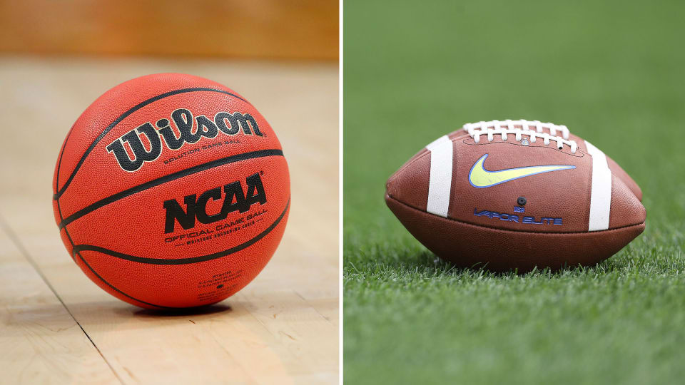 NCAA basketball and football sit on ground