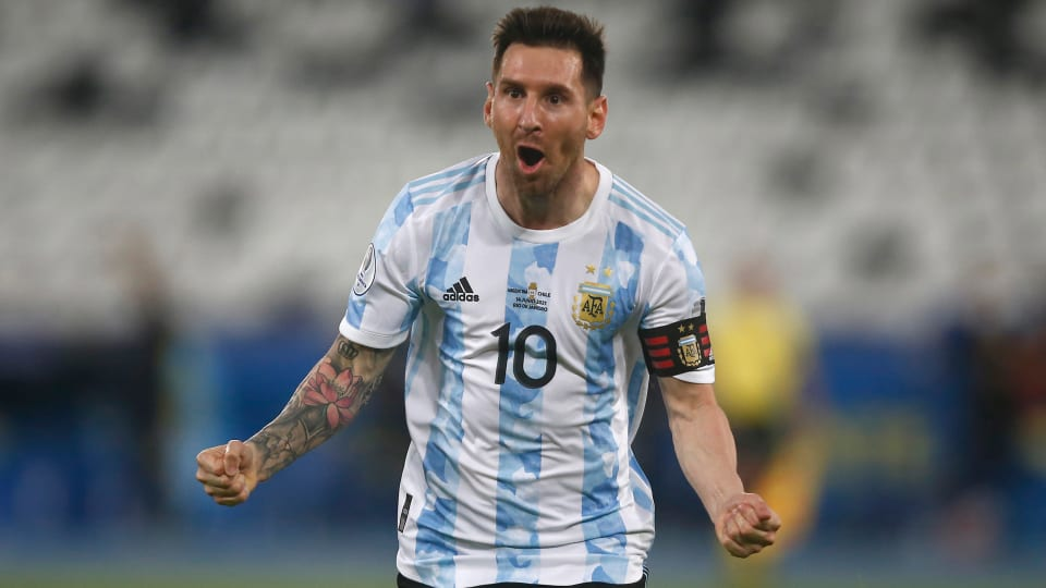 Lionel Messi celebrates after scoring a goal against Chile at Copa America