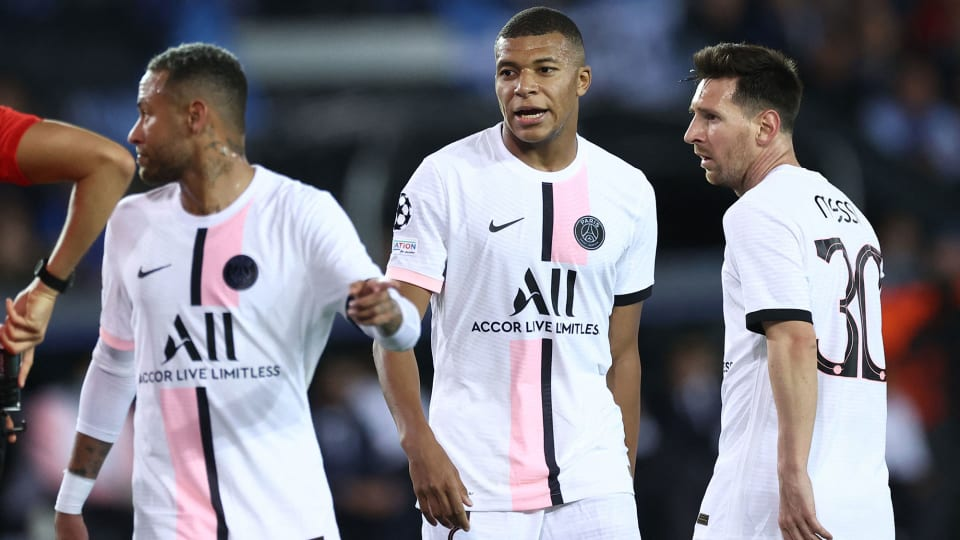 Neymar, Kylian Mbappe and Lionel Messi all feature together for PSG in the Champions League
