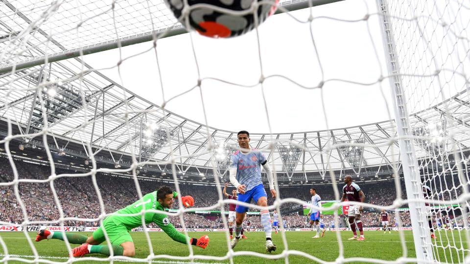 Cristiano Ronaldo scores against West Ham.