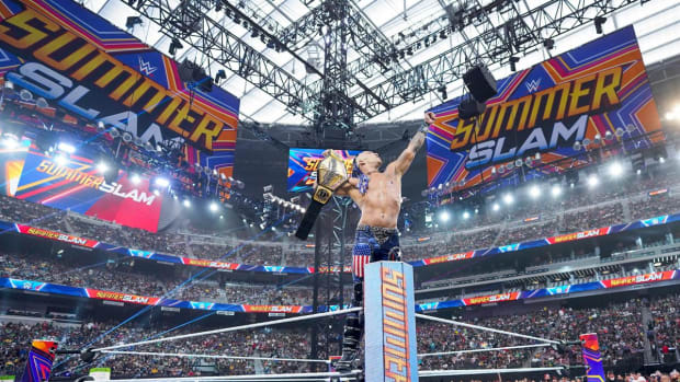 Damien Priest poses with the U.S. title at SummerSlam