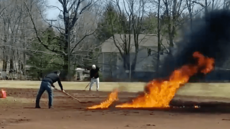 Monday's Hot Clicks: Another Baseball Field Destroyed by an Attempt to Dry It With Fire