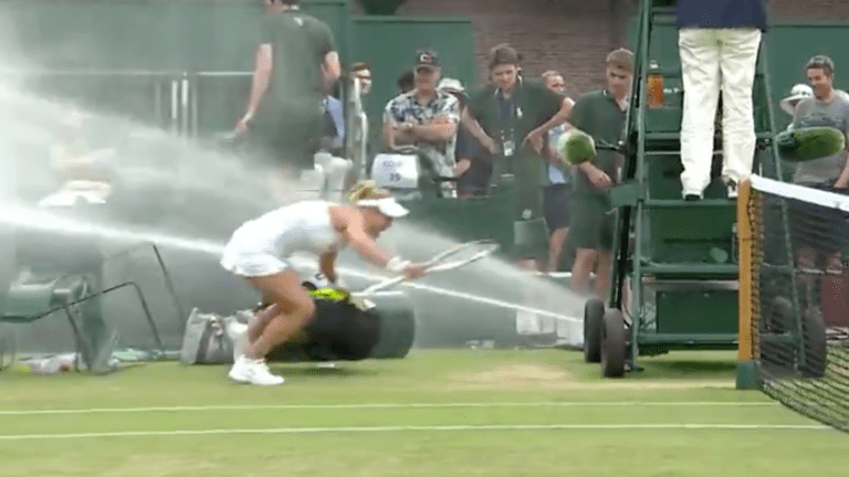 Wimbledon Mixed Doubles Players Soaked by Out-of-Control Sprinkler