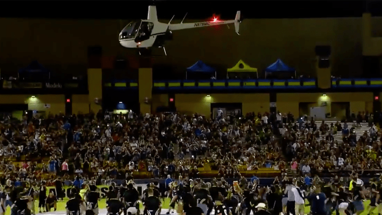 WATCH: Las Vegas USL Team Drops $5,000 in Cash From Helicopter