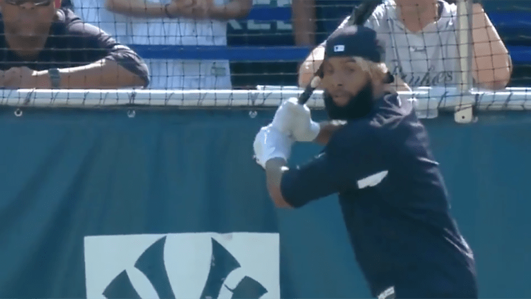 Watch: Odell Beckham Jr. Homers in Batting Practice at Yankee Stadium