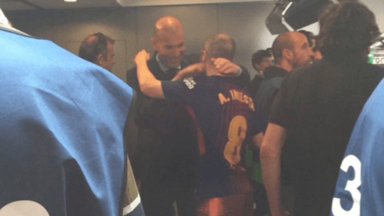 PHOTO: Zidane Put Rivalries Aside to Share Touching Moment With Andres Iniesta After El Clasico