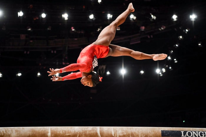 Biles in the all-around final at the 2015 World Gymnastics Championships.