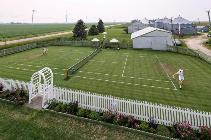 """The All Iowa Lawn Tennis Club is a """"whimsical replica"""" of Wimbledon, as the court's creator puts it."""