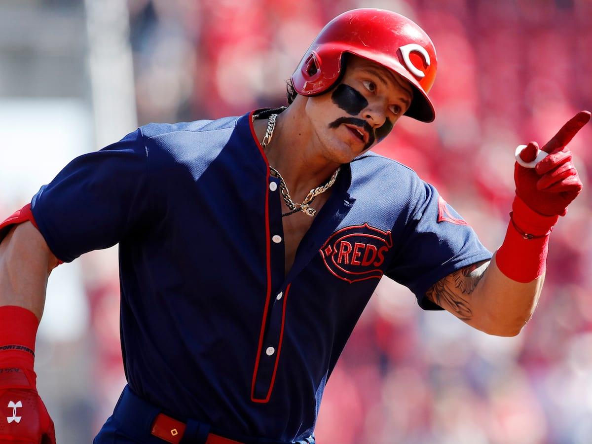 Reds throwbacks: Derek Dietrich wears eye black mustache - Sports ...