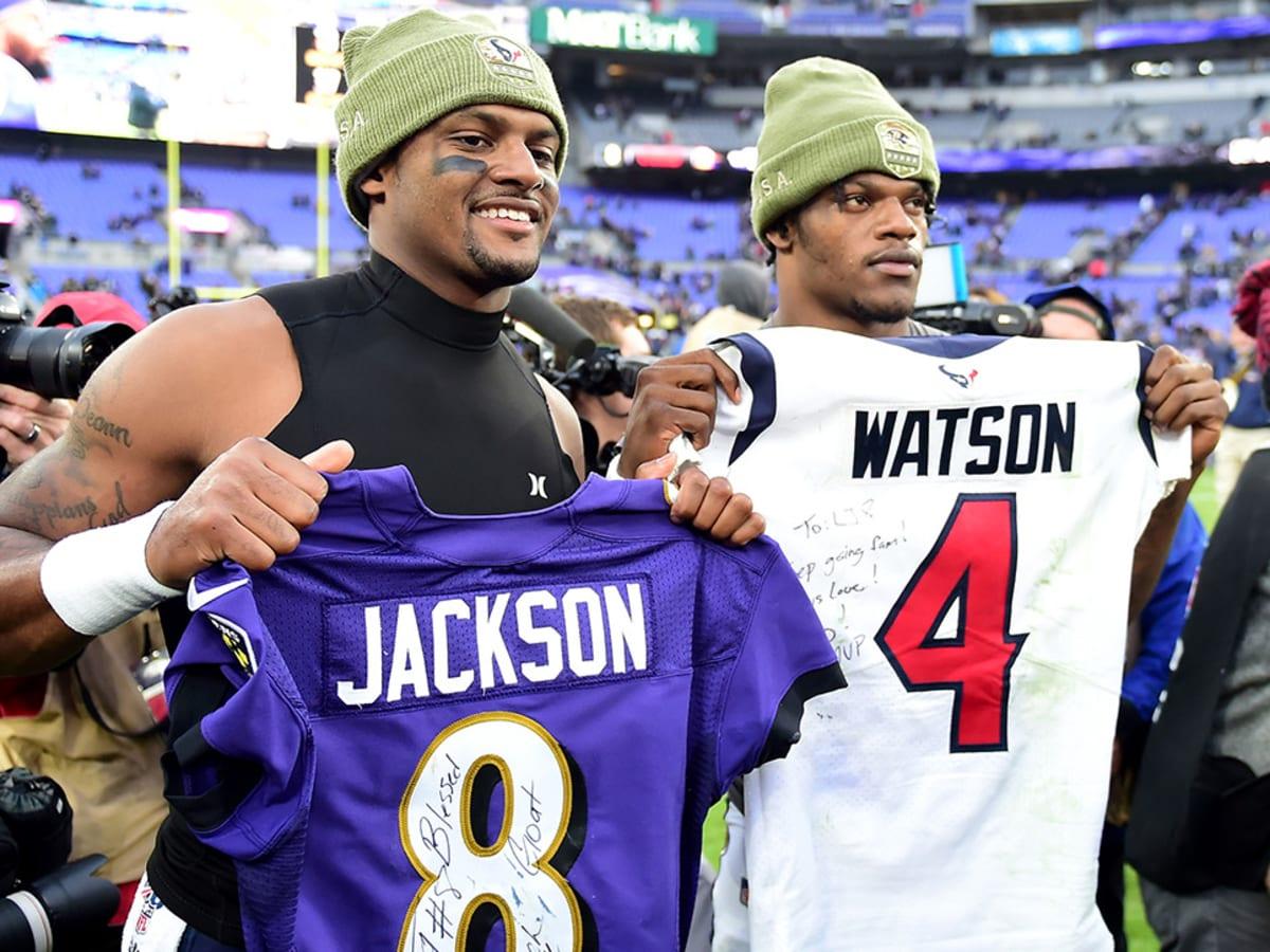 Texans QB Deshaun Watson gives Ravens' Lamar Jackson 'MVP' jersey ...