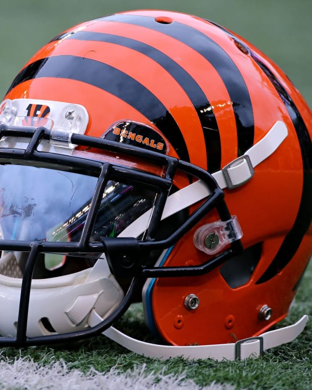 Oct 29, 2017; Cincinnati, OH, USA; A view of a Bengals helmet on the sidelines in the game of the Indianapolis Colts against the Cincinnati Bengals at Paul Brown Stadium. Mandatory Credit: Aaron Doster-USA TODAY Sports