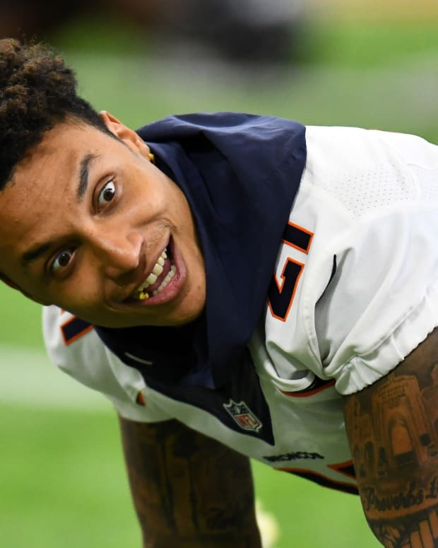 Denver Broncos defensive back Su'a Cravens (21) during organized team activities at the Pat Bowlen Fieldhouse at UCHealth Training Center.