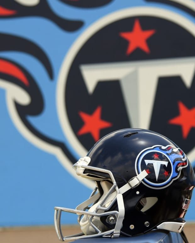 View of the Tennessee Titans new helmet during minicamp at Saint Thomas Sports Park.