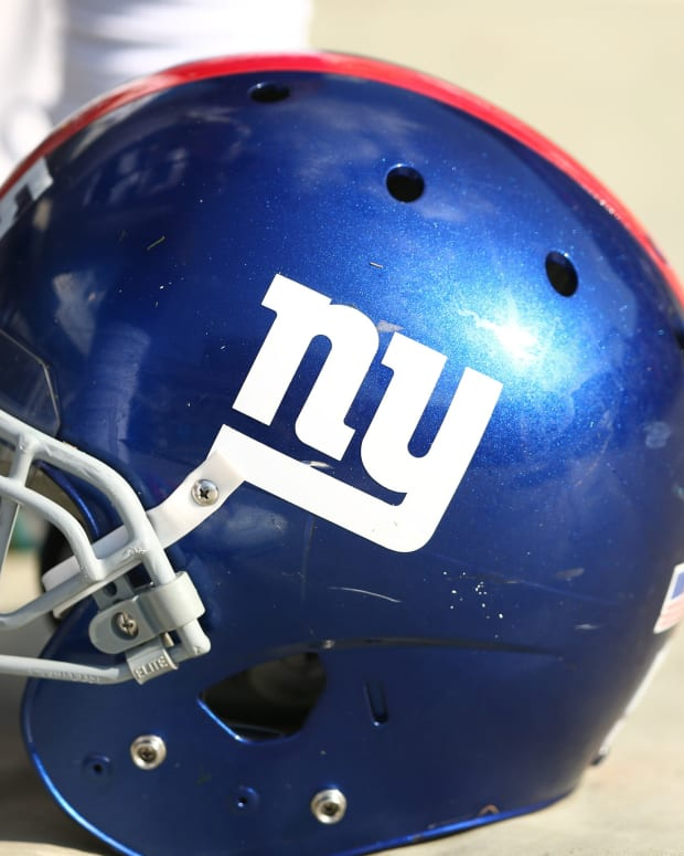 Oct 7, 2018; Charlotte, NC, USA; A New York Giants helmet sits on the sidelines against the Carolina Panthers at Bank of America Stadium.