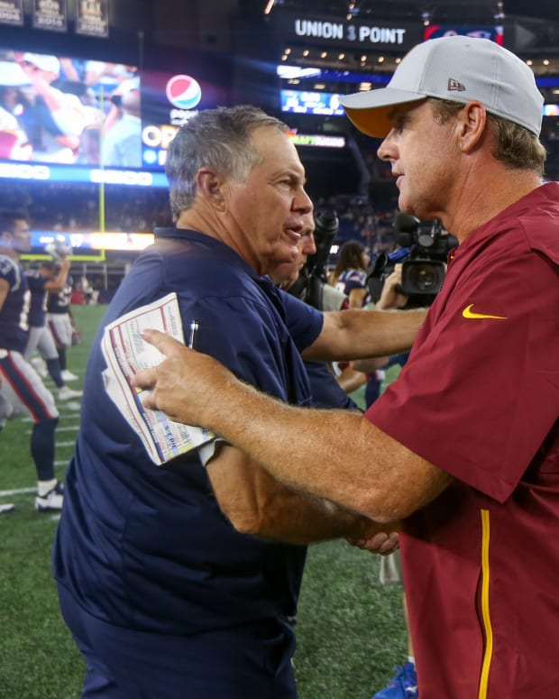 Bill Belichick | Jay Gruden | Paul Rutherford-USA TODAY Sports