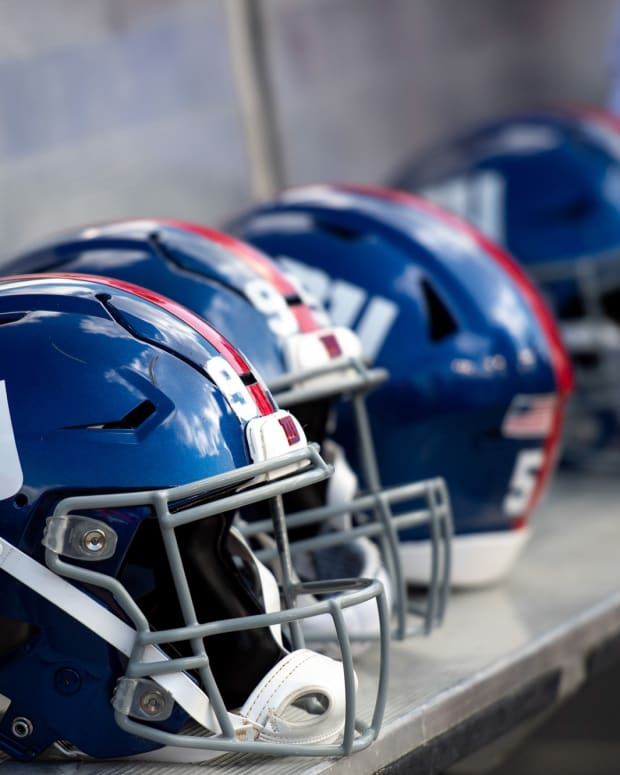 Sep 22, 2019; Tampa, FL, USA; General view of New York Giants helmets on the bench prior to the game against the Tampa Bay Buccaneers at Raymond James Stadium. Mandatory Credit: Douglas DeFelice-USA TODAY Sports