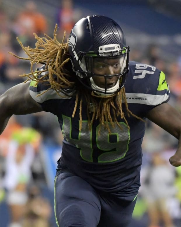 Seattle Seahawks outside linebacker Shaquem Griffin (49) reacts in the second half against the Denver Broncos at CenturyLink Field. The Seahawks won 22-14.