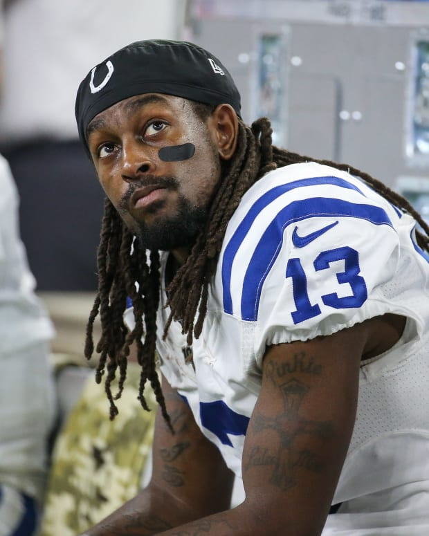 Indianapolis Colts wide receiver T.Y. Hilton looks on from the sideline during a 20-17 loss at Houston last Thursday.