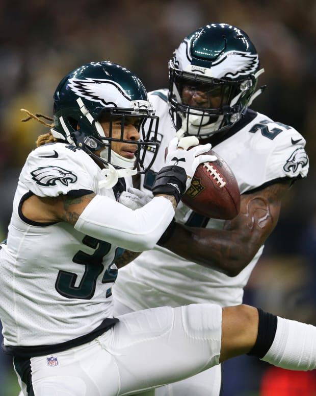 Cornerback Cre'Von LeBlanc (left) was activated from Injured Reserve and added to the Eagles' 53-man roster on Saturday