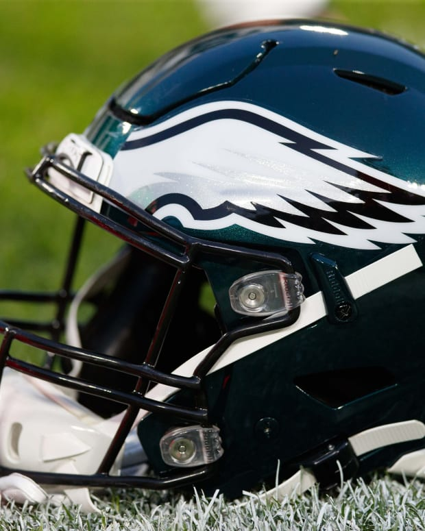Sep 26, 2019; Green Bay, WI, USA; A Philadelphia Eagles helmet sits on the field during warmups prior to the game against the Green Bay Packers at Lambeau Field.